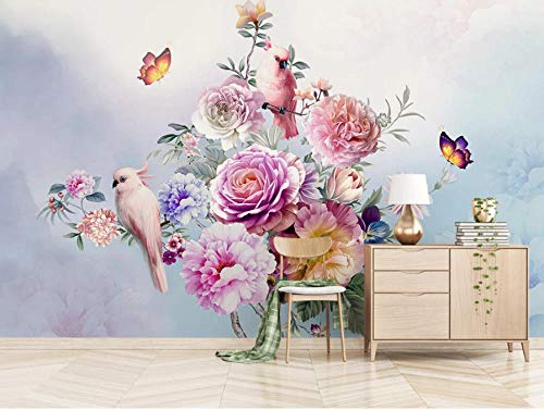 Papel Pintado 3D Murales Pájaro de flor rosa - Fotomurales Para Salón Natural Landscape Foto Mural Pared, Dormitorio Corredor Oficina Moderno Festival Mural 400x280 cm - 8 tiras
