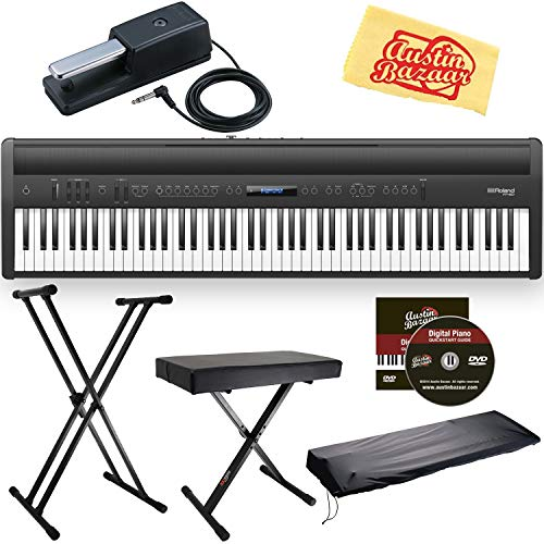 Great Features Of Roland FP-10 Digital Piano Bundle with Adjustable Stand, Bench, Sustain Pedal, Austin Bazaar Instructional DVD, and Polishing Cloth