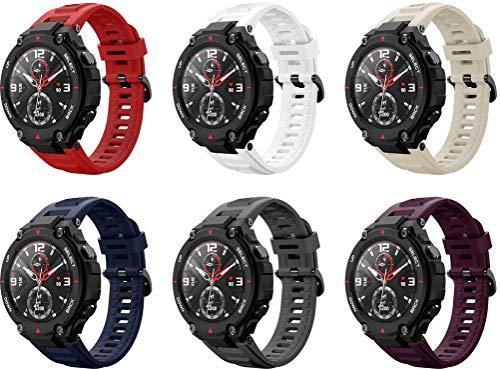 Simpleas Correa de Reloj Compatible con Amazfit T-Rex, Impermeable Reemplazo Correas Reloj Silicona Banda (6PCS C)