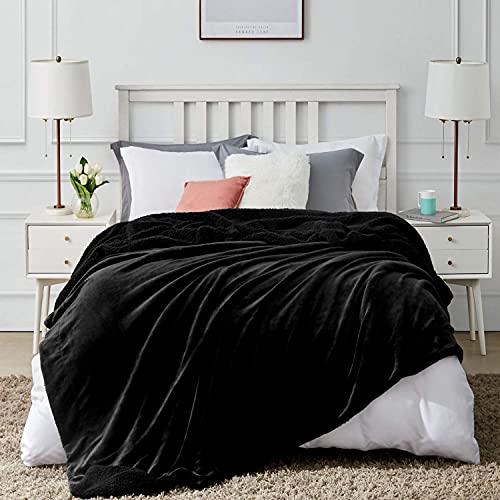 Hansleep Sherpa Decke Sofa 150 x 200cm Schwarz Wohndecke Zweiseitige Kuscheldecke Warm Sofadecke/Couchdecke Mikrofaser Sofaüberwurf Superweich und Flauschig Fleecedecke für Couch Bett und Sofa