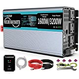 1600W Pure Sine Wave Power Inverter 12V DC to 230V/240V AC Converter with remote controller & Dual AC outlets & Dual USB Port Inverter for RV Truck Car DC to AC Converter