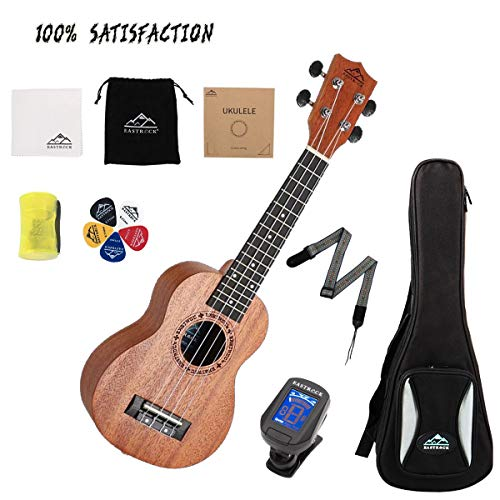 EastRock Ukulele Soprano Ukulele 21 inch Professional Ukelele Instrument Kit for Kids Beginners with Good Quality Bag &Tuner&Strap&4 Carbon String&Cleaning Cloth Set(Soprano,Mahogany UKULELE)