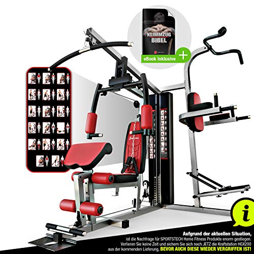 Sportstech Einzigartige 45in1 Premium Kraftstation HGX200 für unzählige Trainingsvarianten Multifunktions-Homegym mit Stepper, Fitnessstation aus Eva Material für Zuhause- Robuste Konstruktion