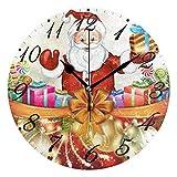 Jacque Dusk Reloj de Pared Moderno,Feliz Navidad Santa Claus Bola de Copo de Nieve,Grandes Decorativos Silencioso Reloj de Cuarzo de Redondo No-Ticking para Sala de Estar,25cm diámetro