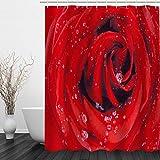 BAIGIO Duschvorhang 180x180cm Wasserdicht Antischimmel Polyester Badezimmer Gardinen mit 12 Haken, 3D Digitaldruck Rose mit Öko-Tex