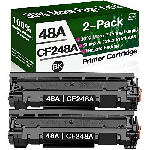 Henwi Compatible 2-Pack 48A CF248A Toner Cartridge for HP Laserjet Pro M15w M29w M30w M31w MFP M28w M28a M29a M15a M16a M16w Printer Toner, Black