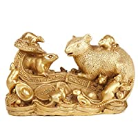 干支 ラット 像 真鍮 風水 黄金 富 彫刻 置物 飾り ホームファニッシング 装飾
