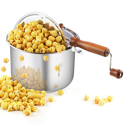 Cook N Home 02627 Stainless Steel Stovetop Popcorn Popper, 6 quart, Silver (Renewed)