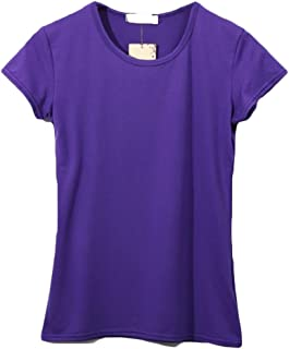 Aooword Women's Pure Color Flexible Fit T-Shirts Tops Cozy Stretch Tunic Blouses