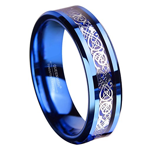 Queenwish 6MM Blue Tungsten Carbide Ring Celtic Dragon Blue Carbon Fibre Inlay Mens Wedding Band Size 7.5