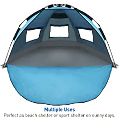 Best selling easy go shelter - instant beach umbrella tent sun sport shelter Instant set-up - no loose parts! just pull the string and this beach tent sun shelter opens quickly Strong and secure - stakes included and Sand pockets securely hold this t...
