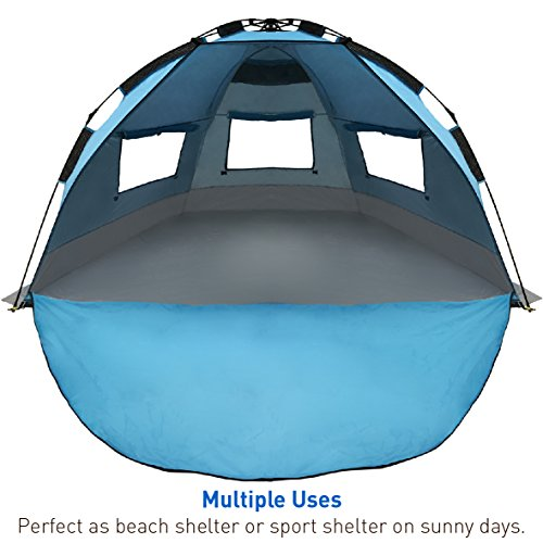 EasyGO Products Shelter - Instant Beach Umbrella Tent Sun Sport Shelter, Light Blue (EGP-UMB-005-LTBLU)