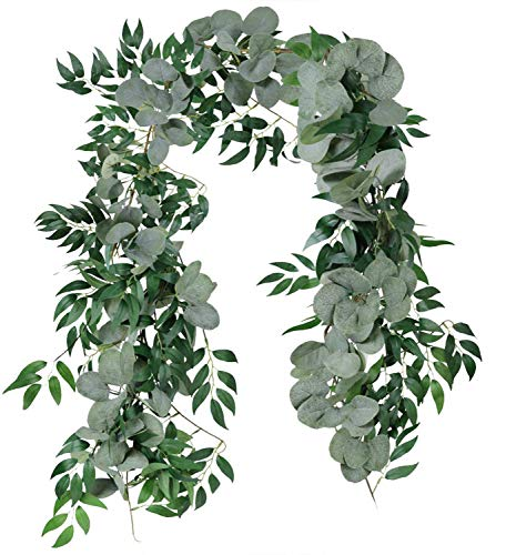 CHIBO 2 Pack Artificial Eucalyptus Garland with Willow Leaves 6.5 Ft Fake Hanging Greenery Vines Table Runner Garland for Wedding Backdrop Arch Wall Decor (2pcs, Eucalyptus Blend Willow)