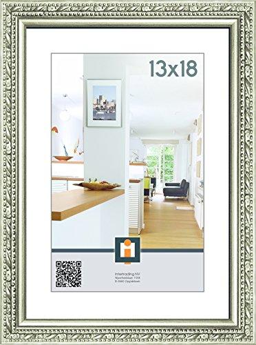 Intertrading Fotorahmen Torino Bilderrahmen für Bildgröße 13 x 18 cm im Barock Stil in Silber Antik aus Holz
