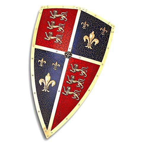 Escudo de Eduardo de Woodstock Llamado Príncipe Negro. Réplica en Metal Decorado del Escudo Que usaba en Las batallas de batallas de Crécy y Poitiers