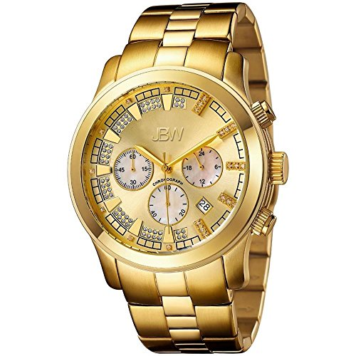 JBW Luxury Men's Delano .21 Carat Diamond Wrist Watch with Stainless Steel Bracelet