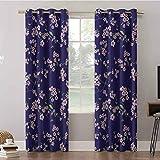 Aishare Store - Cortinas para ventanas (52 x 95 x 95 paneles, flores Sakura Cherry Ramas chino Oriental Kimono Pat, aislantes para habitación (2 paneles)