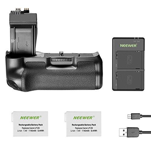 Neewer Empuñadura de Repuesto para cámaras réflex Digitales Canon EOS 550D 600D 650D 700D Rebel T2i T3i T4i T5i con baterías de Litio de Repuesto para LP-E8 / Cargador USB