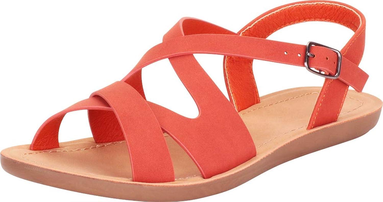 Cambridge Select Women's Open Toe Crisscross Strappy Flat Sandal