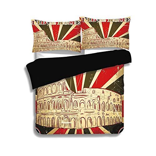 Juego de funda nórdica negra, decoración de cita, letras I Love Rome con carpa de circo y rayas en negrilla antiguas, rojo, verde oscuro y blanco, juego de cama decorativo de 3 piezas con fundas de 2