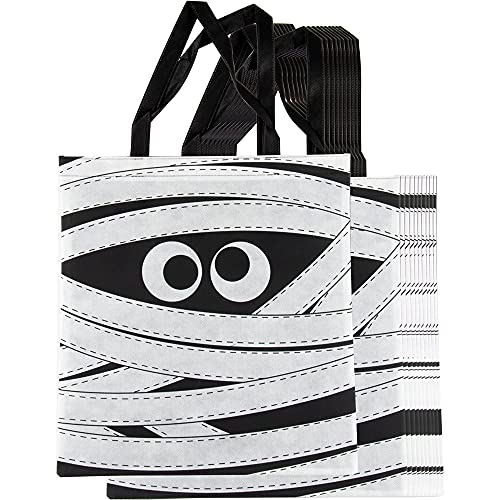 Halloween Trick or Treat Bags, Reusable Party Favor Totes, Mummy Design (12 Pack)