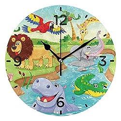 Senwei Cartoon Zoo Animal Hippopotamus Wall Clock Acrylic Decorative Round Clock Art for Home Decor Living Room Bedroom