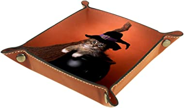 Funny Halloween Witch Themed Kitten Valet Tray Storage Organizer Box Coin Tray Key Tray Nightstand Desk Microfiber Leather Po