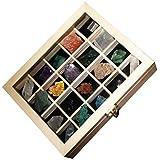 Baluue 20 Unidades de Cristales Curativos Naturales en Caja de Madera Piedras Preciosas Caídas en Bruto para Coleccionismo Kit de Regalo
