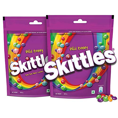 Skittles Bite-Size Fruit Candies Pouch, Wild Berry Pouch, 281 g with Skittles Standup Pouch, Pack of 2