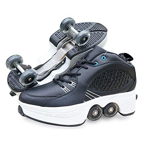 JZIYH Zapatillas con Ruedas Automática Retráctiles Ruedas Ajustables Zapatos De Skate Roller Deportivos Zapatos Patines Sneaker para Niños Niñas