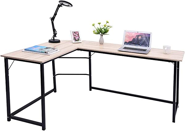 Cloudro Home Office Corner Desk Computer Table Steel Wood Study Office Desk Workstation