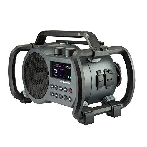 Audisse Netbox WLAN Internet Baustellenradio mit DAB+, UKW, Bluetooth, USB, AUX-In, App-fähig. Digitalradio tragbar und robust.