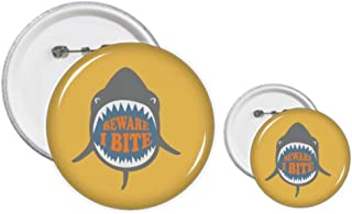 Kit de création de badges et boutons avec illustration de requin « Beware I Bite Shark »