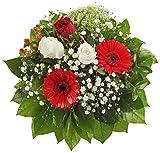 Dominik Blumen und Pflanzen, Blumenstrauß 'Gruß von Herzen' mit Rosen, Gerbera und Johanniskraut