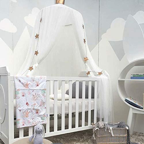 Cama con Dosel para Niñas - Princesa Cama con Dosel Mosquitera Cúpula Vivero Hilo Premium Decoración de La Sala de Juegos, Blanco