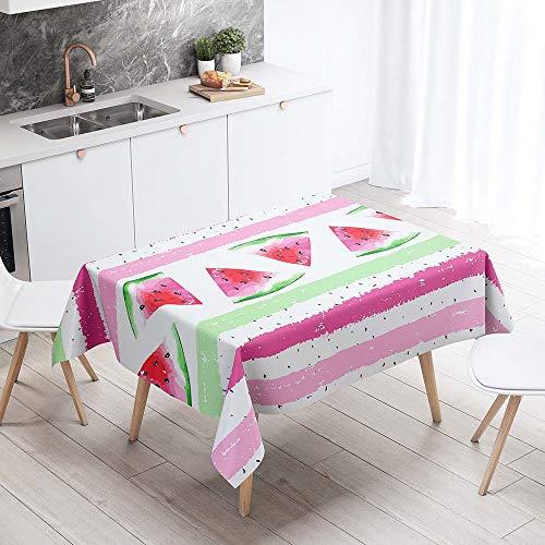 Enhome Manteles de Poliéster Rectangular Mantel Rectangular Impermeable Antimanchas Nórdico Moderno Mantel Decorativo para mesas rectangulares Cocina Comedor (Sandía Colorida,90x90cm)