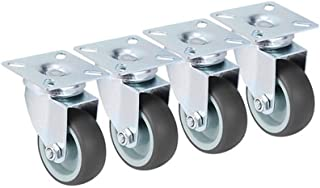"""CHENTAOMAYAN 4 STKS Wielen 2 """"Heavy Duty Swivel Zachte Rubber Roller met Rem voor Platform Trolley Meubels Wielen (Kleur: ..."""