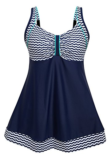 DANIFY Women's Vintage Sailor Pin Up Swimdress Plus Size Swimsuit Retro One Piece Skirtini Cover Up Swim Dress Navy
