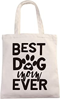 Chillake Best Dog Mom Ever Natural Cotton Canvas 12 Oz Reusable Hand Made Tote Bag - Funny Dog Mom Tote Bag Gifts for Dog ...