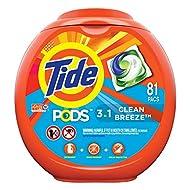 Tide PODS Liquid Laundry Detergent Pacs, Clean Breeze, 81 count