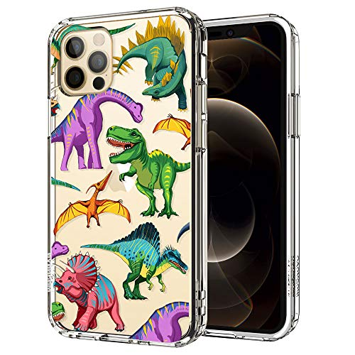 MOSNOVO Cool Dinosaur Pattern Designed for iPhone 12 Case 6.1 Inch/Designed for iPhone 12 Pro Case 6.1 Inch,Clear Case with Design Girls Women,TPU Bumper with Protective Hard Case Cover