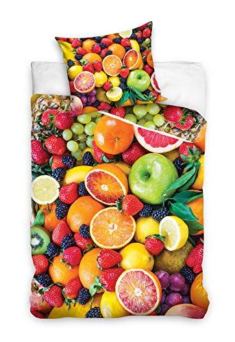 Bettwäsche 160x200 +70x80 Bettbezug Bettgarnitur Obst