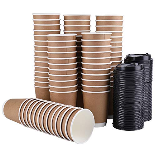 Lawei 80 Stück Kaffeebecher Einweg Pappbecher Kraftkarton Trinkbecher mit Deckel für Tee Kaffee Kakao Heißen & Kalten Getränke - 240 ml