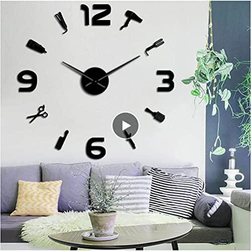 LTMJWTX Peluquería Gigante DIY Reloj de Pared Espejo Superficie Juego de Herramientas...