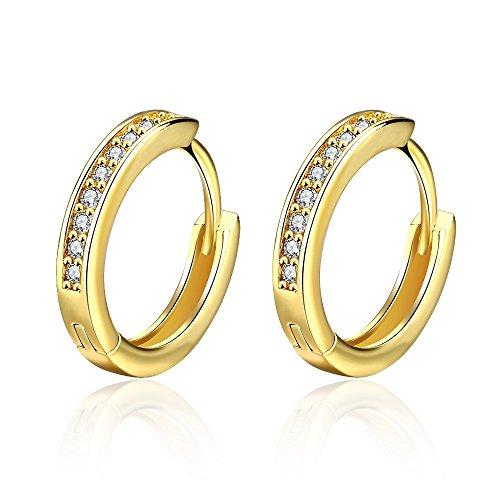 Orecchini da Donna, orecchini a bottone a cerchio piccolo Gold con zirconi cubici Regali di diamanti simulati per Donna-gioielleria da Donna