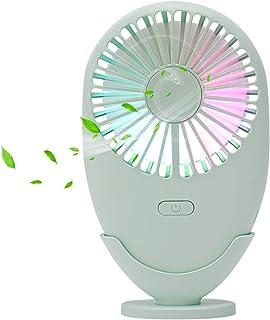 FrideMok Mini Ventilador Portátil, Ventiladores de Mano Eléctrico Ventilador de Viaje USB Recargable de Bolsillo con Luces de Colores para el hogar/Oficina/Dormitorio/al Aire Libre(Verde)
