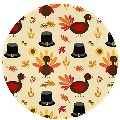 HMYATSO Thanksgiving Turkey and Pilgrim Hat Pattern Non Slip Absorbent Doormat Resist Dirt Front Door Mat 4060