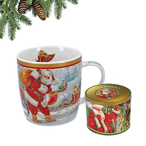 Carmani - Christmas Collection – Festliche Porzellantasse in Blechdose – Weihnachtsmann – 400 ml