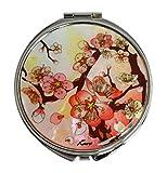 Miroir de poche fleurs de prunier rose. Accessoire femme idéal pour sac à mains. Création artisanale en nacre, cadeau parfait