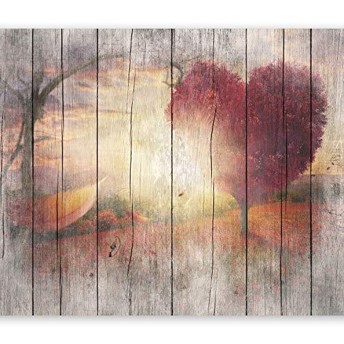 murando Fototapete Holz Optik 300x210 cm Vlies Tapeten Wandtapete XXL Moderne Wanddeko Design Wand Dekoration Wohnzimmer Schlafzimmer Büro Flur Landschaft Baum Herz f-C-0175-a-a